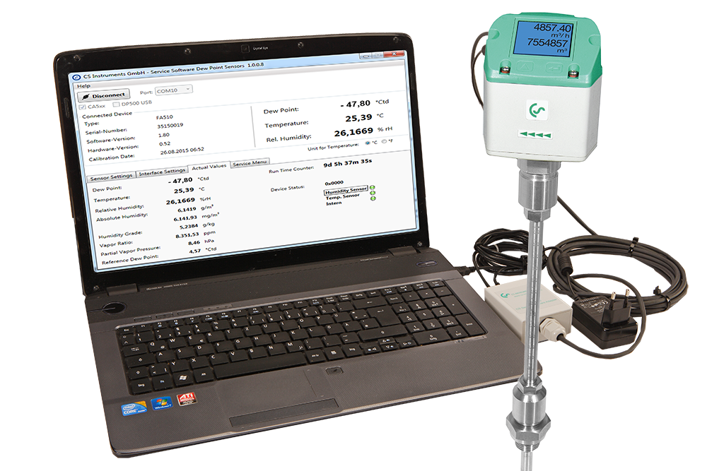 Service Software for the VA 5xx flow sensor series by CS Instruments