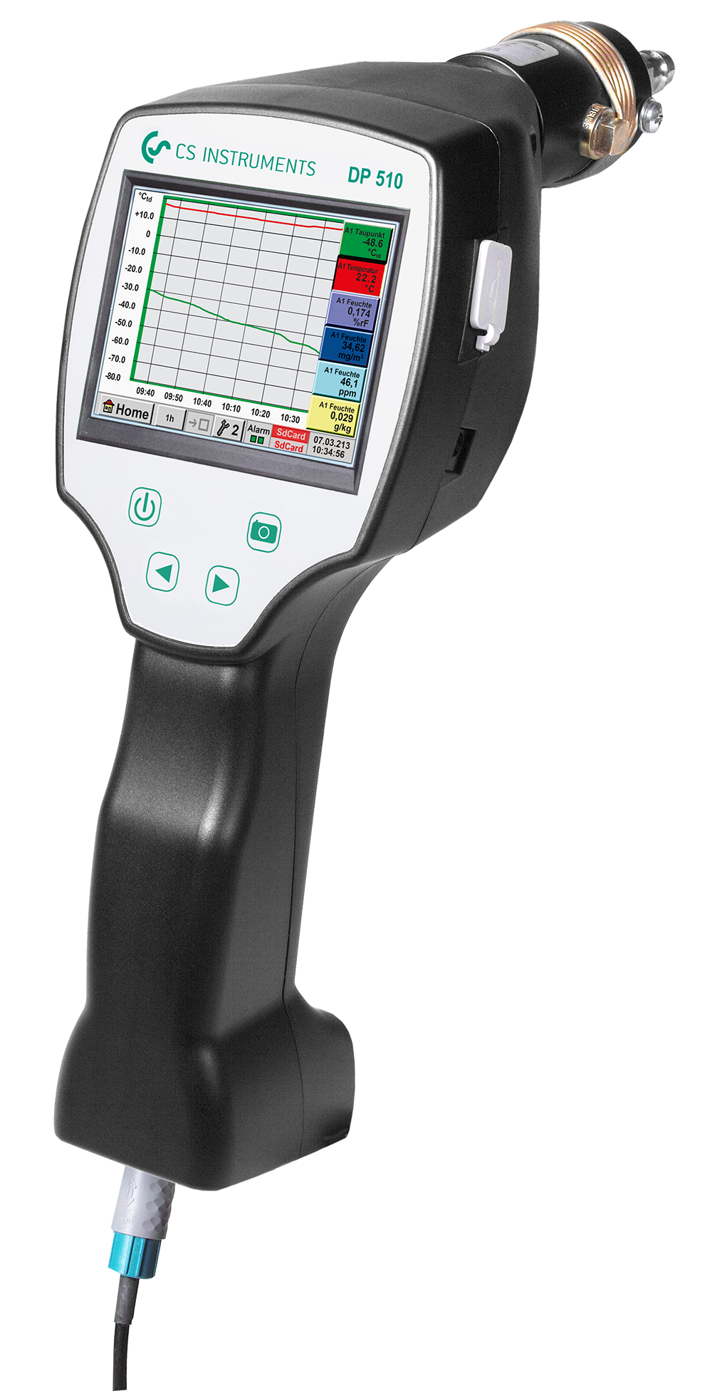 Portable dew point meter DP 510 with third party sensor